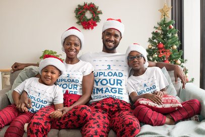 Mockup of a Family of Four Wearing Matching T-Shirts in Christmas 30357