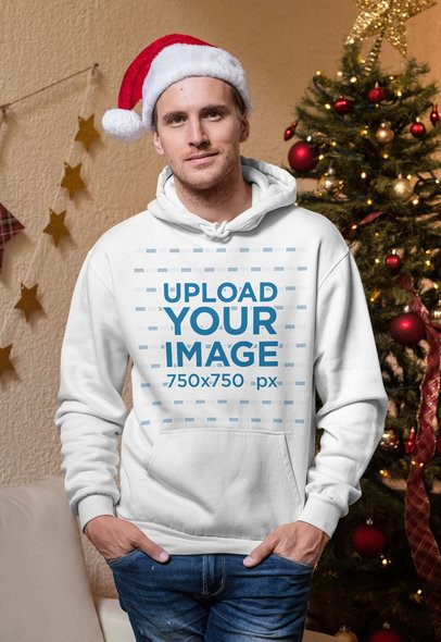 Christmas Mockup of a Man Wearing a Hoodie Pullover 30177