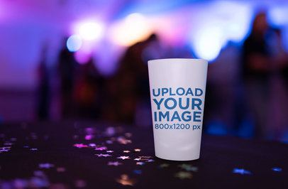 Mockup of a Reusable Cup in a Blurry Background 30245