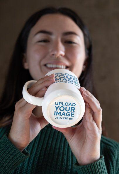 15 oz Hidden Message Mug Mockup Featuring a Smiling Woman 30126