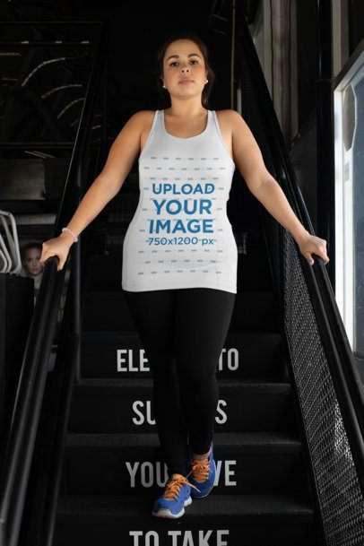 Plus Size Tank Top Mockup Featuring a Woman at a Gym Stairway 30146