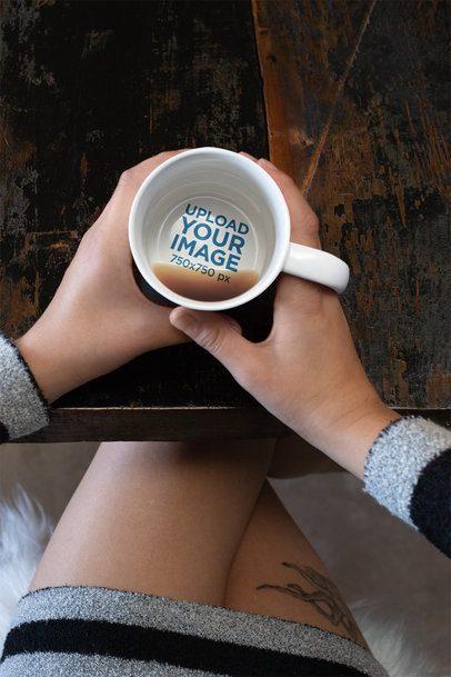 15 oz Secret Message Mug Mockup Featuring a Tattooed Woman 30132