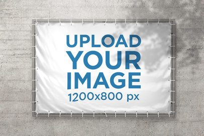 Mockup of a Horizontal Banner Placed on a Concrete Wall 898-el