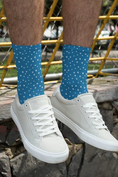 Sublimated Socks Mockup Featuring a Man Wearing Low Sneakers 29559