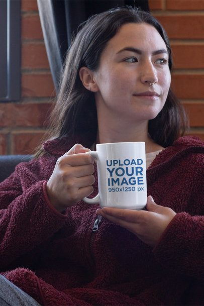 Mockup of a Distracted Young Woman Holding a 15 oz Coffee Mug 30122