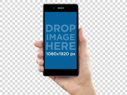 Sony Xperia Z5 Held by a White Woman Mockup a10767