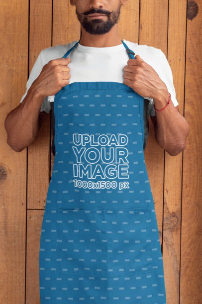 Mockup of a Bearded Man Wearing a Sublimated Apron 30293