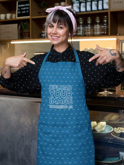 Mockup of a Barista Pointing at Her Sublimated Apron 30278