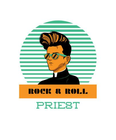 Retro Rock T-Shirt Design Template Featuring an Elvis Presley-Inspired Character 1975h