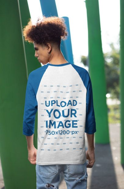 Back-View Mockup of a Man Wearing a Three-Quarter Sleeves Raglan Tee 30223