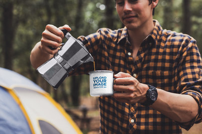 Mockup of a Man Pouring Coffee into a 12 oz Enamel Mug with a Silver Rim 30487a