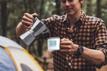 Mockup of a Man Pouring Coffee into a 12 oz Enamel Mug with a Silver Rim 30487