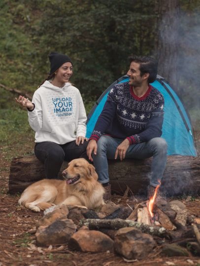 Pullover Hoodie Mockup Featuring a Couple Camping by a Bonfire with Their Dog 30502
