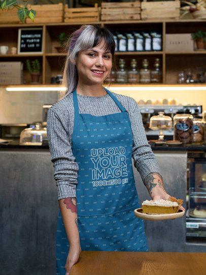 Sublimated Apron Mockup Featuring a Waitress Holding a Cake Slice 30268