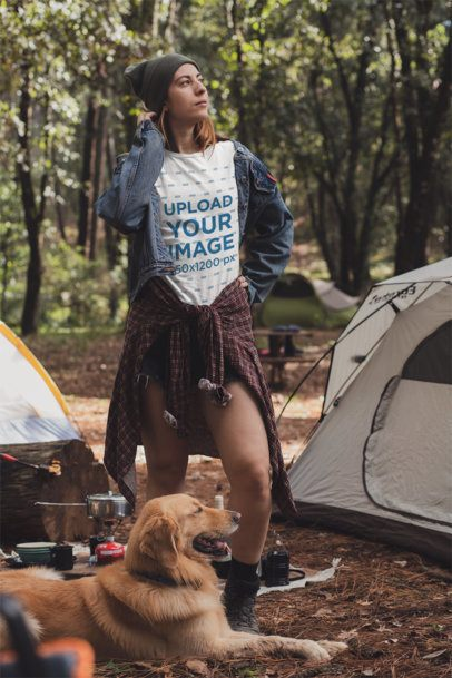 T-Shirt Mockup of a Woman at a Camping Site with Her Dog 30462