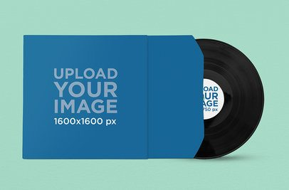 Vinyl Record Mockup Featuring a Solid Color Backdrop 1039-el