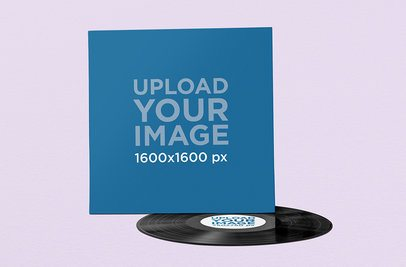 Vinyl Record Mockup Placed Against a Plain Backdrop 1041-el