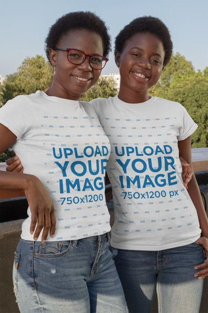 T-Shirt Mockup of Mother and Daughter Posing 30622