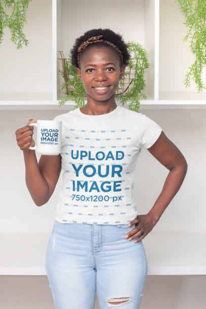 T-Shirt Mockup Featuring a Smiling Woman Holding a 15 oz Coffee Mug 30328