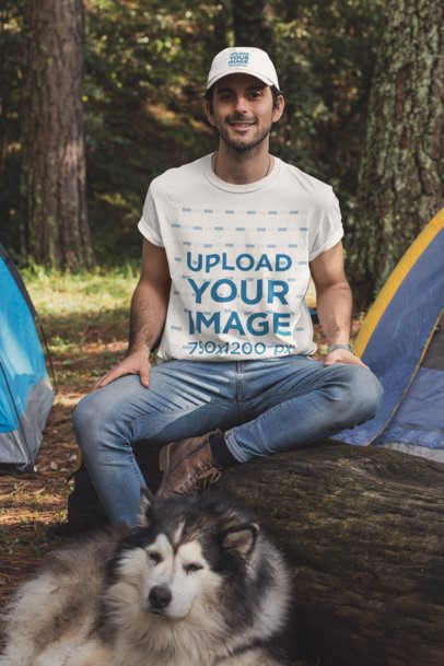 T-Shirt and Dad Hat Mockup of a Man at a Camping Site with His Dog 30475