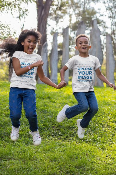 T-Shirt Mockup of a Boy and a Girl Playing at a Park 30592
