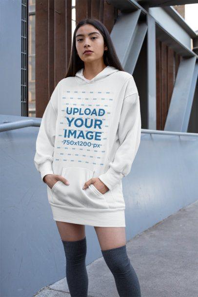 Mockup of a Woman Wearing a Hoodie Dress 30509