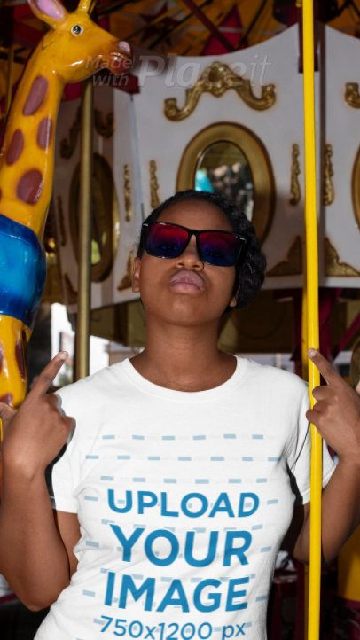 Stop Motion T-Shirt Video of a Cool Woman on a Carousel 22992