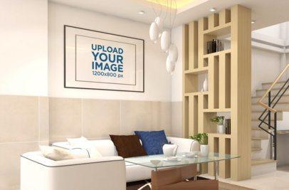 Mockup of a Decorative Art Print Frame on a Modern Living Room Wall 831-el