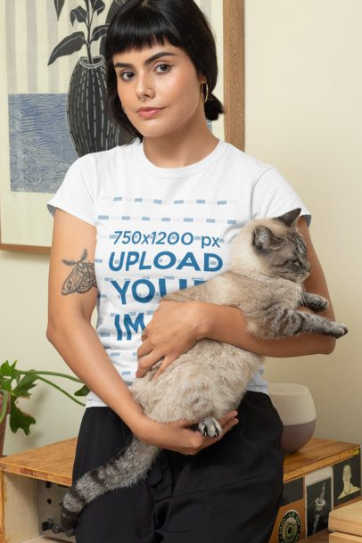 Mockup of a Woman Wearing a T-Shirt and Carrying Her Cat 30673