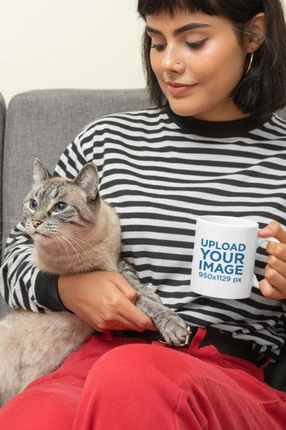 Mockup of a Woman Holding an 11 oz Mug with Her Cat 30675