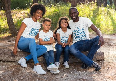 T-Shirt Mockup Featuring a Family in a Nature Scenario 30604