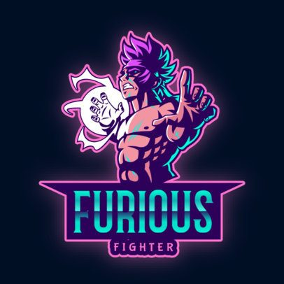 Gaming Logo Creator with an Anime Fighter Character 2718b