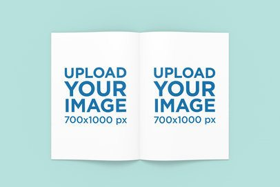 Open A4 Magazine Mockup with a Solid Color Background 1273-el