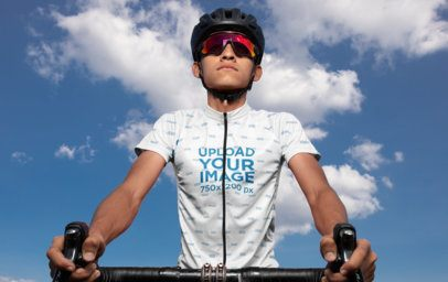 Cycling Jersey Mockup of a Man Riding His Bike 30794