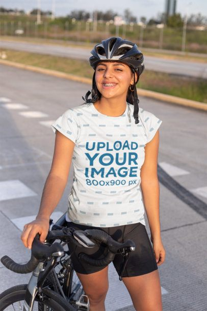 T-Shirt Mockup of a Cyclist with a Helmet in the Street 30803