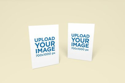Mockup of Two Greeting Cards on a Customizable Backdrop 1132-el