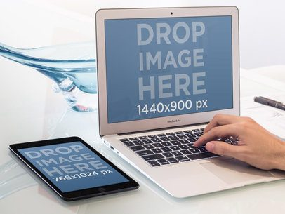 Working On MacBook Air And iPad Mini