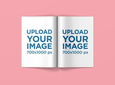 Open a4 Magazine Mockup Featuring a Solid Color Backdrop 1465-el