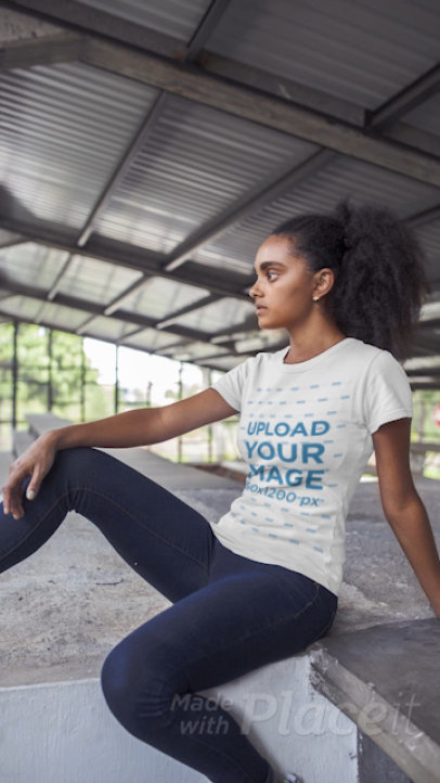 Stop Motion Video of a Young Woman with Curly Hair Wearing a T-Shirt 22844