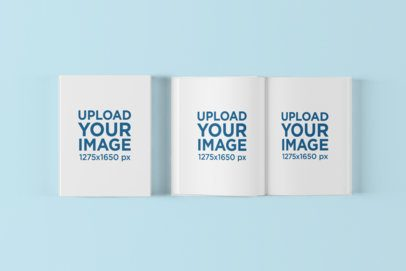 Books Mockup Featuring One Open and One Closed 1495-el