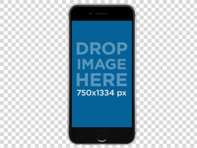Black iPhone 6s Floating Over a Transparent Background a11470