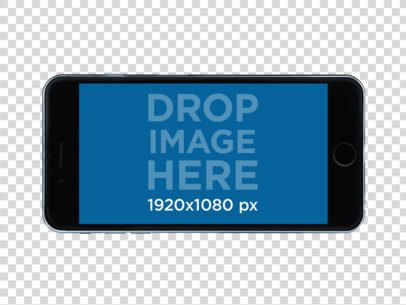 Black iPhone 6 Plus in Horizontal Position Over a PNG Background a11466