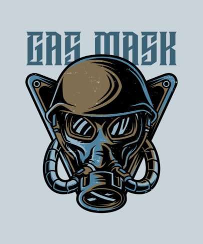 Illustrated T-Shirt Design Creator with a Gas Mask 27c-el