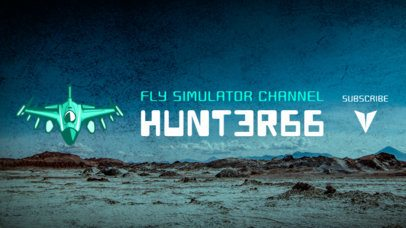PUBG-Inspired YouTube Banner Maker with a Military Jet Illustration 1982g-2069