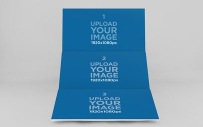 Render Mockup of Three Website Screens Floating over a Customizable Background 1756-el