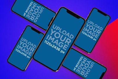 Digital Mockup Featuring a Whirlpool of iPhones 11 Pro 1636-el