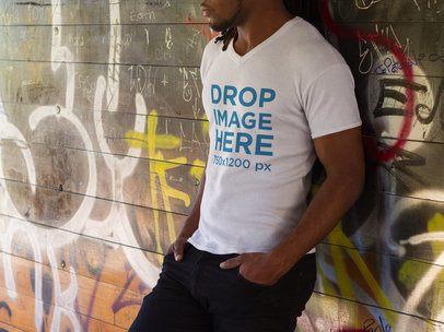 Young Black Man Wearing a V-Neck T-Shirt Mockup a8754
