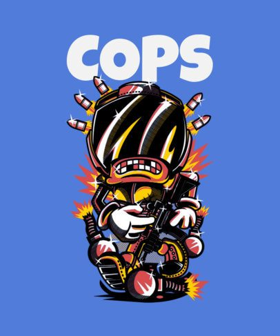 Street Style- T-Shirt Design Template of a Character with Explosives 42a-el