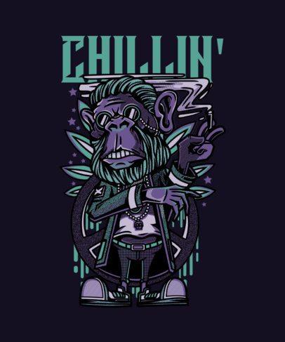 T-Shirt Design Maker of a Chilled Monkey Smoking 43d-el