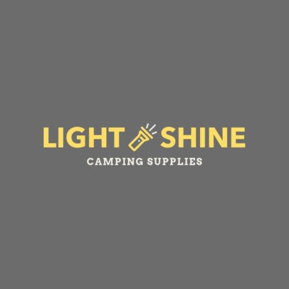 Simple Logo Maker for Camping Supplies with a Flashlight Graphic 244b-el